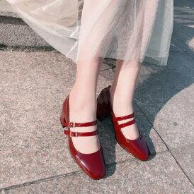 送料無料【IRIS】ハイヒール パンプス ラウンドトゥ 結婚式 靴 ウエディング シューズ 無地 レディース パーティー 日常 お呼ばれ キレイめ ストラップ パンプス 痛くない 黒 赤 歩きやすい エナメル調
