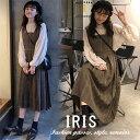 【IRIS】レディースセットアップ 春秋ワンピース シャツ チェック柄ワンピース 2点セット ロング丈 可愛い 無…