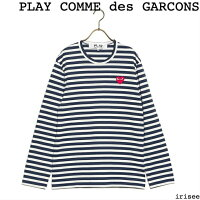 PLAY COMME des GARCONS コムデギャルソン Tシャツ PLAY STRIPED TEE ユニセックス NAVY/WHITE L
