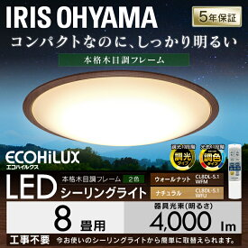LEDシーリングライト メタルサーキットシリーズ ウッドフレーム CL8DL-5.1WF 8畳 調色 ウォールナット ナチュラル天井照明 高効率 取り付け簡単 LED 明かり 省エネ 節電 インテリア照明 調光 調色 ウッディ 木目 ウッド アイリスオーヤマ あす楽