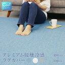 プレミアム 接触冷感 Cool+ クールプラス 洗えるラグカバー 190×190cm(約2畳) ひんやり クール 丸洗いOK