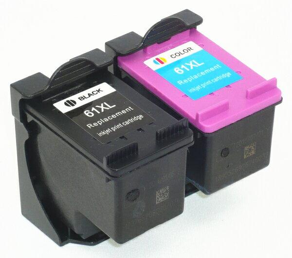 安心代替補償 hp 61XL増量 黒1個+カラー1個<リサイクル>2個セットインク残量表示 ENVY,5530,4500,4504,OfficeJet4630, 送料無料