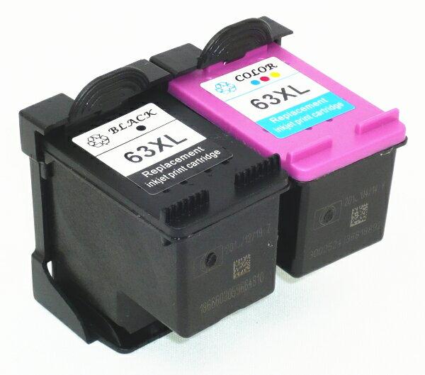 安心代替補償 hp 63XL 増量 リサイクル 2個セット(黒1個+カラー1個) インク残量表示 ENVY 4520 OfficeJet 4650 5220 送料無料