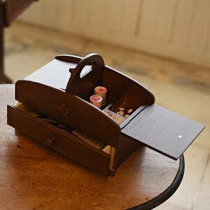クーポン発行中 日本製 ソーイングボックス 裁縫箱 大容量 持ち運び ハンドル 取っ手 引き出し 木製 ブラウン 茶色 ダークブラウン こげ茶 レディース 誕生日 ギフト プレゼント 母の日 敬老