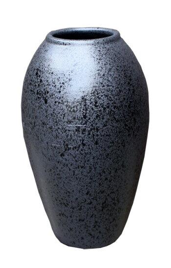 黒釉コンガ花入12号信楽焼陶器花器花入花瓶