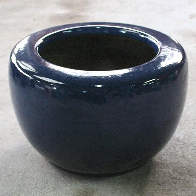 【全品10%OFFクーポン】 生子火鉢 15号信楽焼 伝統の火鉢 生子 深みのある青 陶器 彩り屋