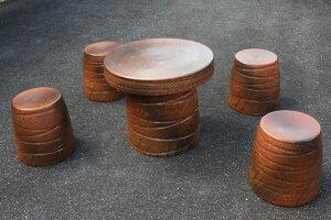 信楽焼 ガーデンテーブル 20号 火色なびき草テーブルセット5点 陶器 テーブル彩り屋 ただいま欠品中、10月中旬仕上がり予定