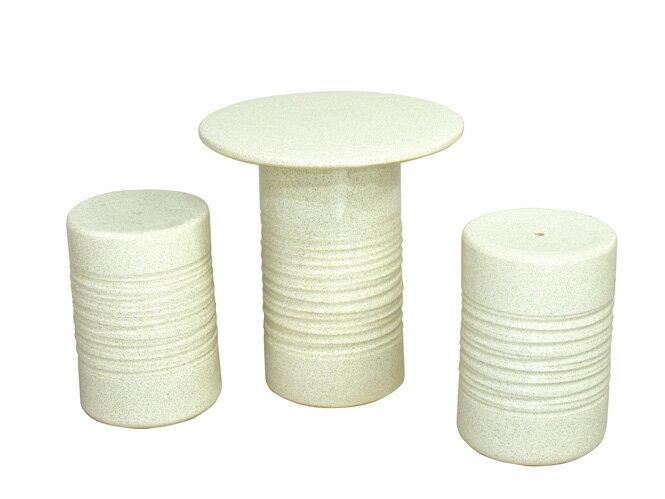信楽焼 ガーデンテーブル 14号 白カスミテーブルセット3点 陶器 テーブル 彩り屋