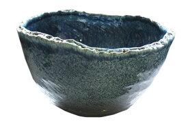 睡蓮鉢 メダカ鉢 ブルーひねり水鉢16号 信楽焼 めだか鉢 水鉢 金魚鉢 ビオトープづくりに 水連鉢 すいれん鉢彩り屋