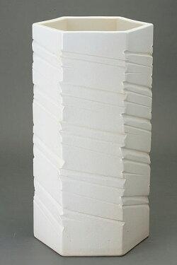 ホワイトマットヘキサゴン傘立信楽焼陶器傘立