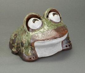 わらい蛙 小信楽焼 陶器 置物 かえる彩り屋