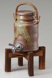 古信楽 サーバー (コルク栓付/木の台付)マイナスイオン 陶器 信楽焼 焼酎サーバー 還暦祝い ギフト お祝い彩り屋