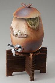 ペアふくろうサーバー木の台付 陶器 信楽焼 焼酎サーバー 還暦祝い ギフト お祝い彩り屋