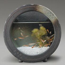 黒釉丸水槽信楽焼 金魚鉢 黒釉丸水槽水槽 陶器 置物 めだか鉢 水鉢彩り屋