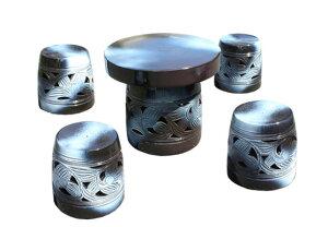 信楽焼 ガーデンテーブル 20号 窯変唐草テーブルセット5点 陶器 テーブル受注生産商品1ヶ月から2ヶ月で仕上がり彩り屋