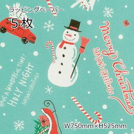 5枚 包装紙 ラッピングペーパー クリスマスミントブルー 雪だるま スノーマン サンタ サンタクロース 半紙 光沢紙 用紙 コート紙 紙 贈り物 クリスマスプレゼント クリスマスギフト クリスマスデザイン クリスマスラッピング クリスマス プレゼント ギフト ラッピング