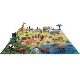 野生動物 おもちゃ フィギュア 室内遊び 3歳 ギフト プレゼント 誕生日大集合!どうぶつフィギュアセット