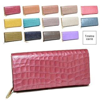 アンメートルキャレ fin enamel type push flap long wallet FL30038