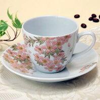 コーヒーカップ色彩花【桜・サクラ】九谷焼和食器九谷工房吉右衛門窯作