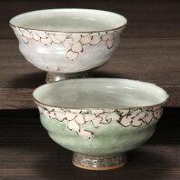 夫婦茶碗花桜九谷焼和食器【組飯碗】