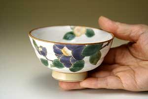 夫婦茶碗彩花九谷焼和食器【組飯碗】日展作家和田青良作