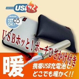 HOTTEM USB対応あったか携帯ひざかけポーチ毛布付き(グレイ)