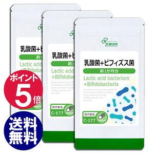 【ポイント5倍】 乳酸菌+ビフィズス菌 約1か月分×3袋 C-177-3 (旧商品名:乳酸菌&オリゴ糖) 送料無料 リプサ Lipusa サプリ サプリメント