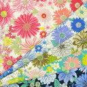 【割引 セール】生地 1m単位 Isekiオリジナル ダブルガーゼ エレガントフラワー ST3401G-1 布 花柄 Q-XUT