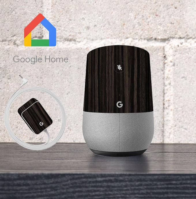 【即納】Google Home インテリアに合わせ外観を美しく上品に!【Google Home ウッド調プレミアムスキンシール】【ダークエボニー】