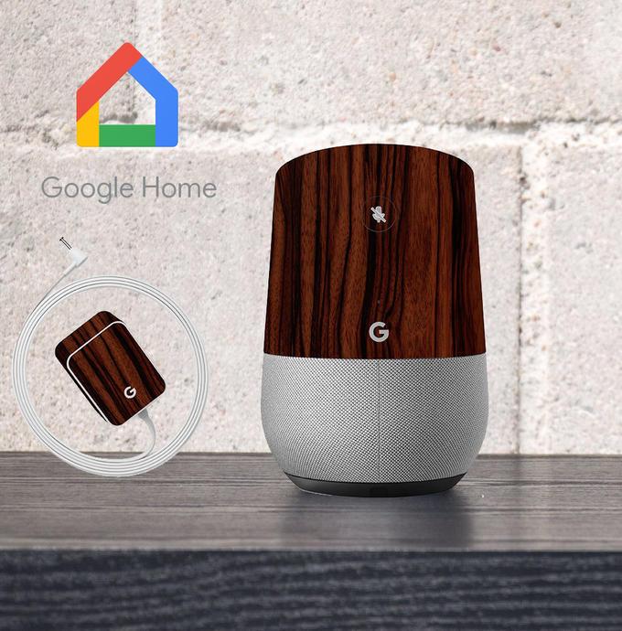 【即納】Google Home インテリアに合わせ外観を美しく上品に!【Google Home ウッド調プレミアムスキンシール】【エボニー】