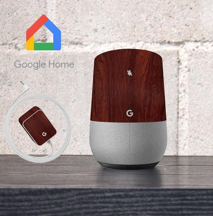 【即納】Google Home インテリアに合わせ外観を美しく上品に!【Google Home ウッド調プレミアムスキンシール】【マホガニー】