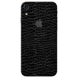 【即納】iPhone XR ケースより外観を美しく上品に!【iPhone XR レザー調プレミアムスキンシール】【アリゲーターブラック】