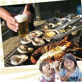 たっぷり海の幸を堪能!アワビ付海鮮BBQセット(アワビ4個サザエ4個大アサリ4個)[魚介類]
