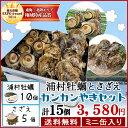 【送料無料】浦村牡蠣 さざえカンカン焼きセット 牡蠣10個とサザエ5個 ミニ缶入り (牡蠣ナイフ・片手用軍手付き)…