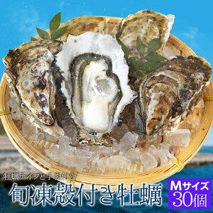 牡蠣 Mサイズ 30個入 冷凍殻付き牡蠣 産地厳選 加熱用(発泡箱入・牡蠣ナイフ・片手用軍手付き)海鮮バーベキューセット