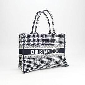 【中古】【辛口評価】【Aランク】Christian Dior クリスチャン ディオール ブックトート スモールバッグ ハウンドトゥース エンブロイダリー トートバッグ M1296ZRPI_M081 千鳥格子柄 ブラック ホワイト