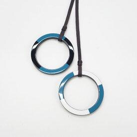 【中古】【辛口評価】【Aランク】HERMES エルメス MIKADO ミカド ネックレス ラッカーウッド ブルー×ブラック×ホワイト