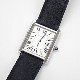 【中古】【辛口評価】【SAランク】Cartier カルティエ SS タンク ソロ ウォッチ メンズ 腕時計 WSTA0028 シルバー文字盤 ブラックレザー