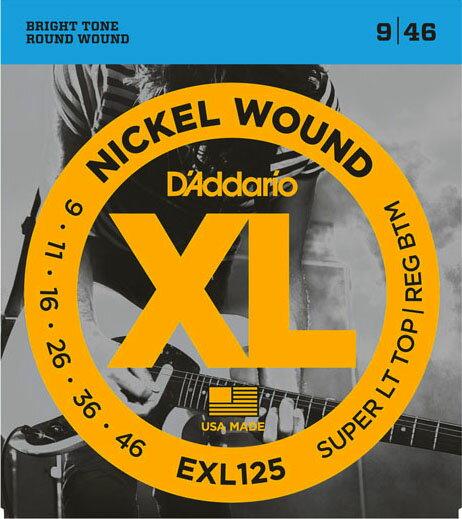 D'Addario / EXL125 Super Tops・Reg.Bottom 09-46 【エレキギター弦】【Electric Guitar Strings】【セット弦】【ダダリオ】【Daddario】【Light】【スーパーライトトップス】【Regular】【レギュラーボトム】【EXL-125】【新宿店】