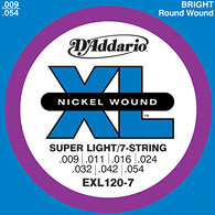D'Addario / EXL120-7 Super Light 09-54 7-Strings 【エレキギター弦】【Electric Guitar Strings】【セット弦】【ダダリオ】【Daddario】【7弦ギター】【7Strings】【7弦用】【スーパーライト】【EXL-120-7】【新宿店】