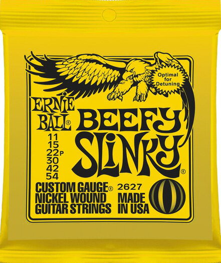 ERNiE BALL / #2627 BEEFY SLiNKY 11-54 【エレキギター弦】【Electric Guitar Strings】【セット弦】【アーニーボール】【ビーフィースリンキー】【イエロー】【Yellow】【新宿店】