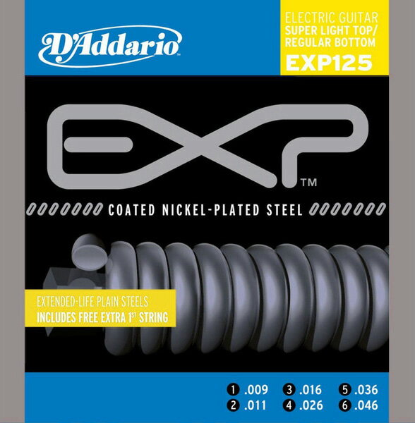 D'Addario / EXP Coated EXP125 Super Top・Reg.Bottom 09-46 【エレキギター弦】【Electric Guitar Strings】【セット弦】【ダダリオ】【Daddario】【コーティング弦】【Light】【スーパーライトトップ】【Regular】【レギュラーボトム】【EXP-125】【新宿店】