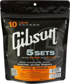 Gibson / Brite Wires Nickel Plated Steel Wound SVP-700L Light 10-46 (SEG-700L 5set Pack) 【エレキギター弦】【Electric Guitar Strings】【5セット弦】【ギブソン】【ブライトワイアーズ】【ニッケルプレーテッドスチールワウンド】【ライト】【新宿店】
