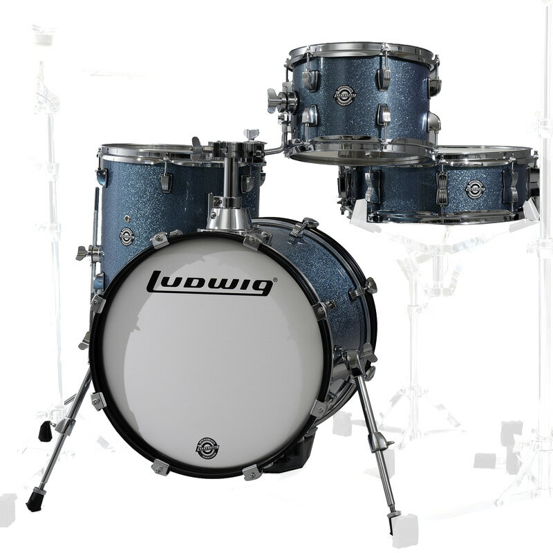 Ludwig LC179X023 BREAKBEATS AZURE BLUE SPARKLE ラディック 4点シェルキット【PNG】