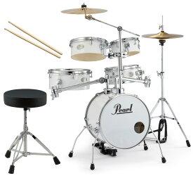 Pearl 小型 ドラムセット RT-645N/C 33-ピュアホワイト リズムトラベラーVersion 3S ドラムイスとスティック付き