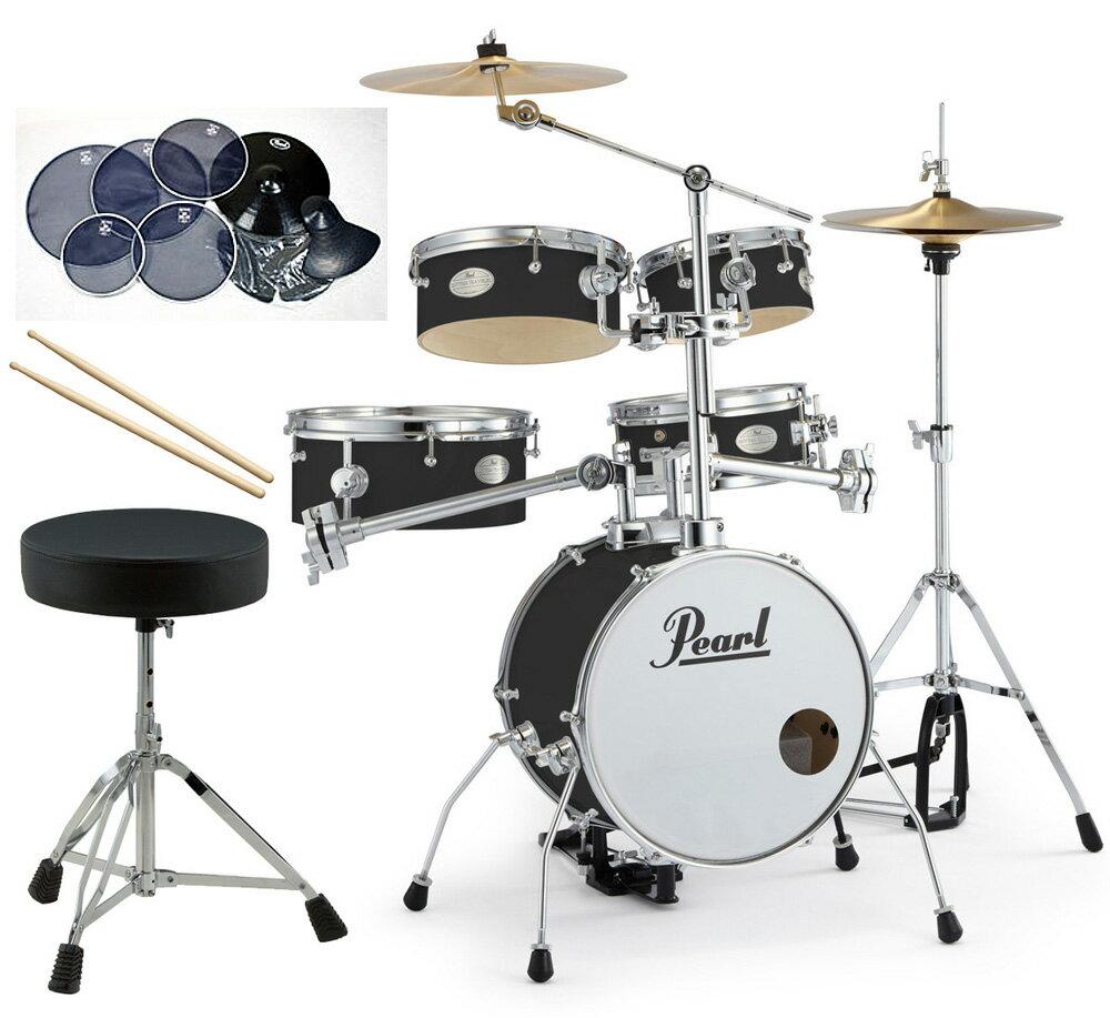 Pearl 小型 ドラムセット RT-645N/C-31ジェットブラック リズムトラベラー サイレントパック ドラムイスとスティック付き一括セット