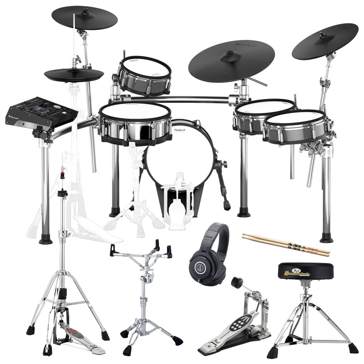 【タイムセール:29日12時まで】Roland Drum System TD-50KV KD-140-BC MDS-50KV PEARL製オプションセット【YRK】
