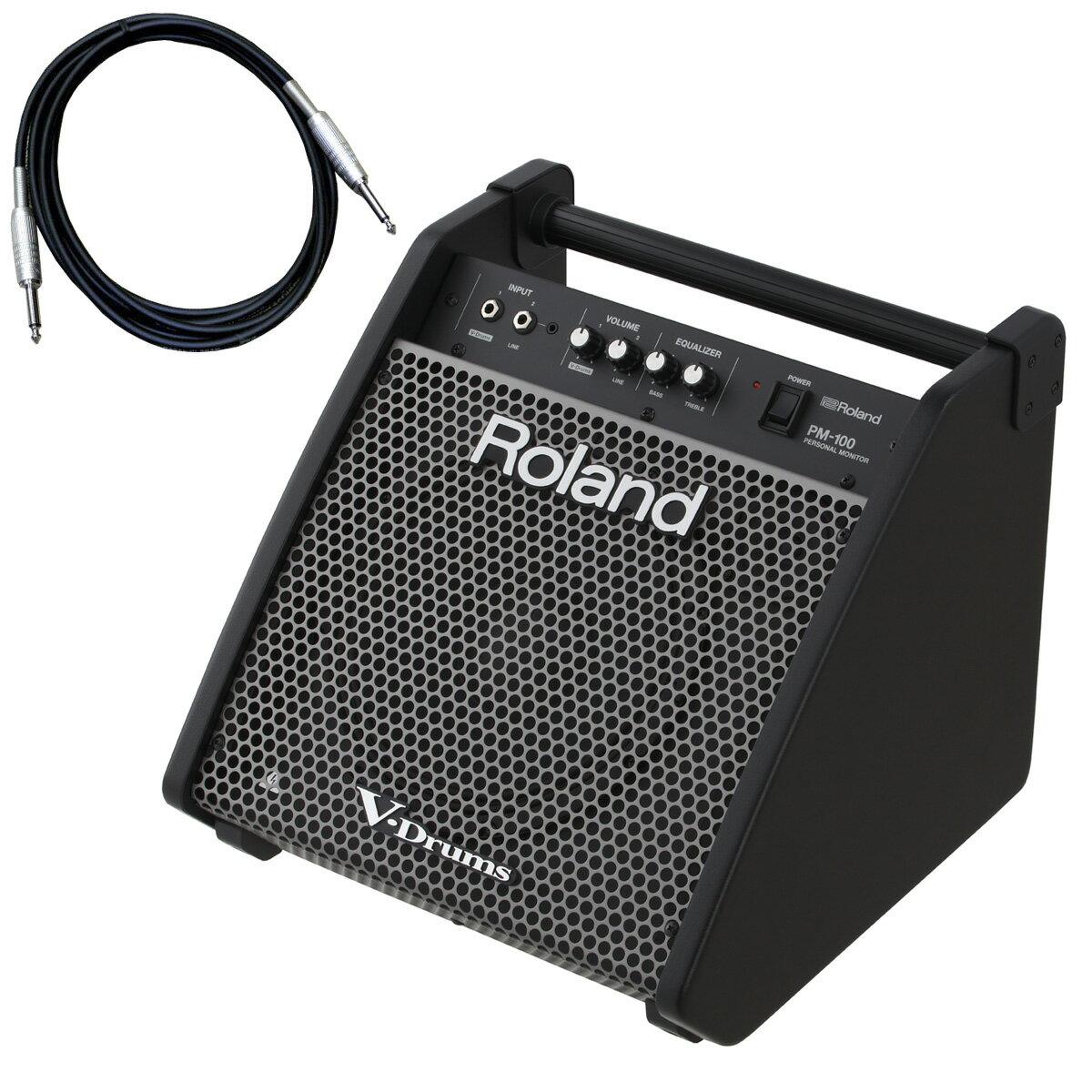 Roland 電子ドラム用モニタースピーカー PM-100 カナレ接続ケーブルセット【YRK】