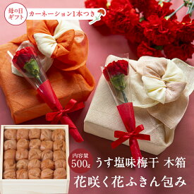 母の日限定うす塩味梅[塩分8%] 木箱 500g花咲く花ふきん包み カーネーション生花1本つき 梅干 送料込