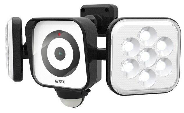 ムサシ RITEX LEDセンサーライト C-AC8160 防犯カメラ 8W×2灯 照らす・撮る・見張る トリプル防犯